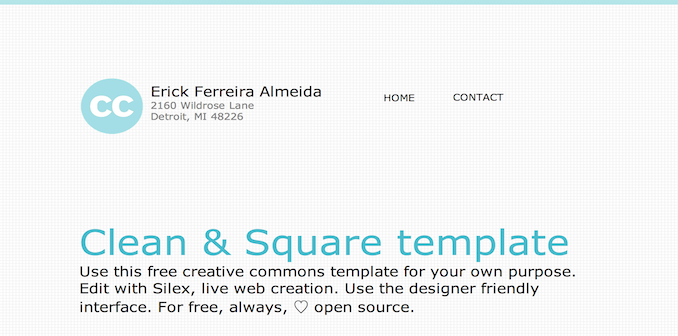 clean square template for Silex website builder
