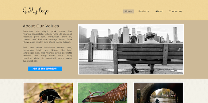 eco1 template for Silex website builder